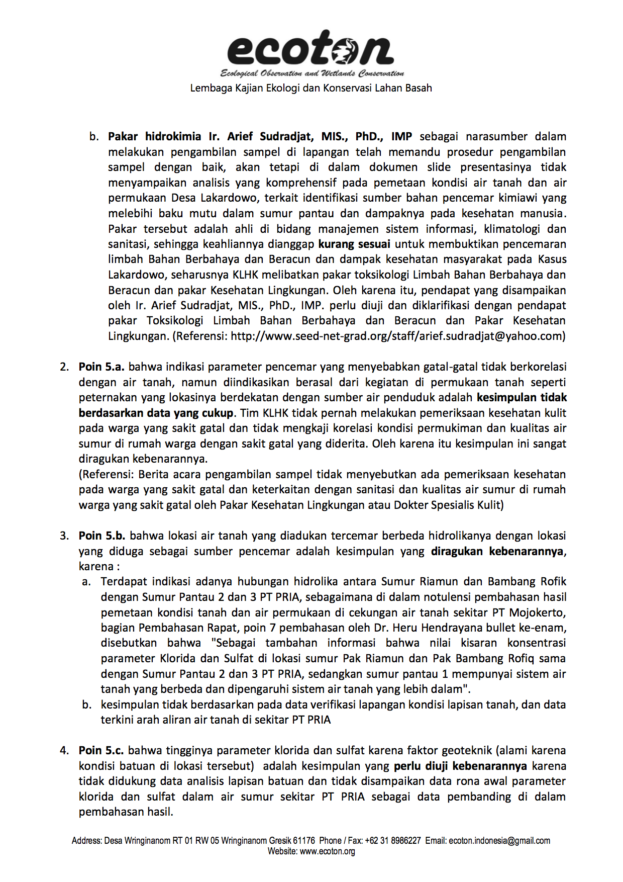 Penolakan Analisis KLHK oleh ECOTON 2