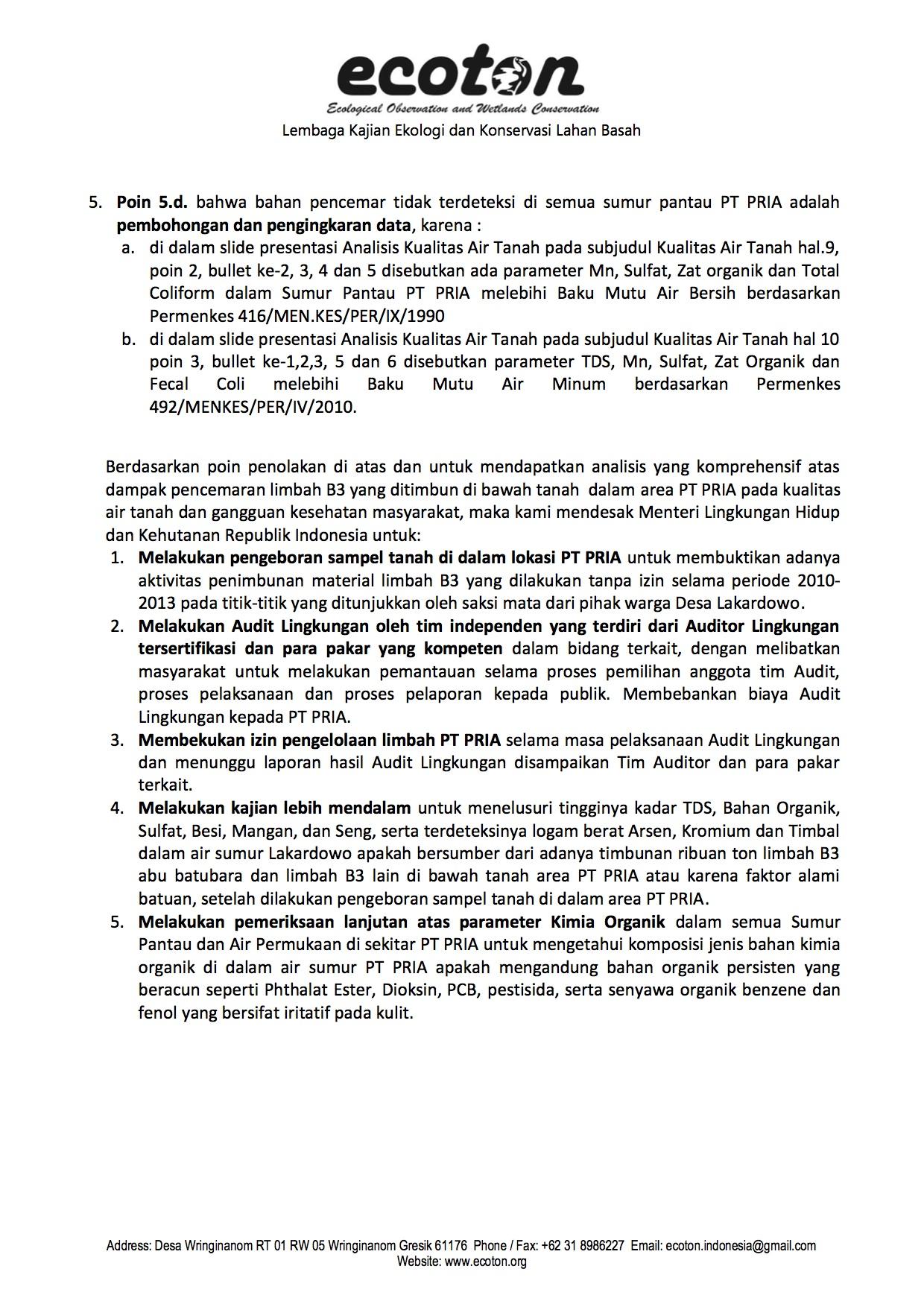 Penolakan Analisis KLHK oleh ECOTON 3