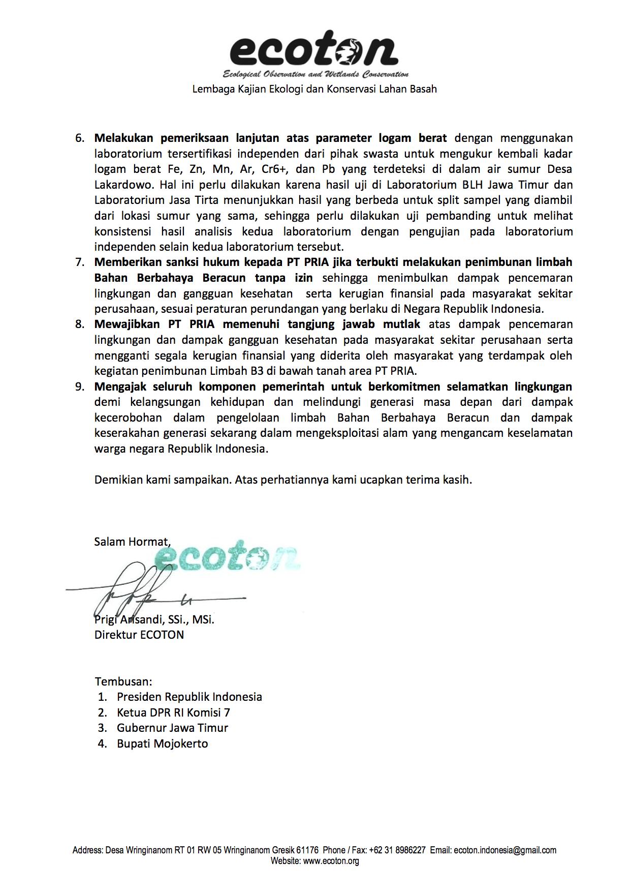 Penolakan Analisis KLHK oleh ECOTON 4